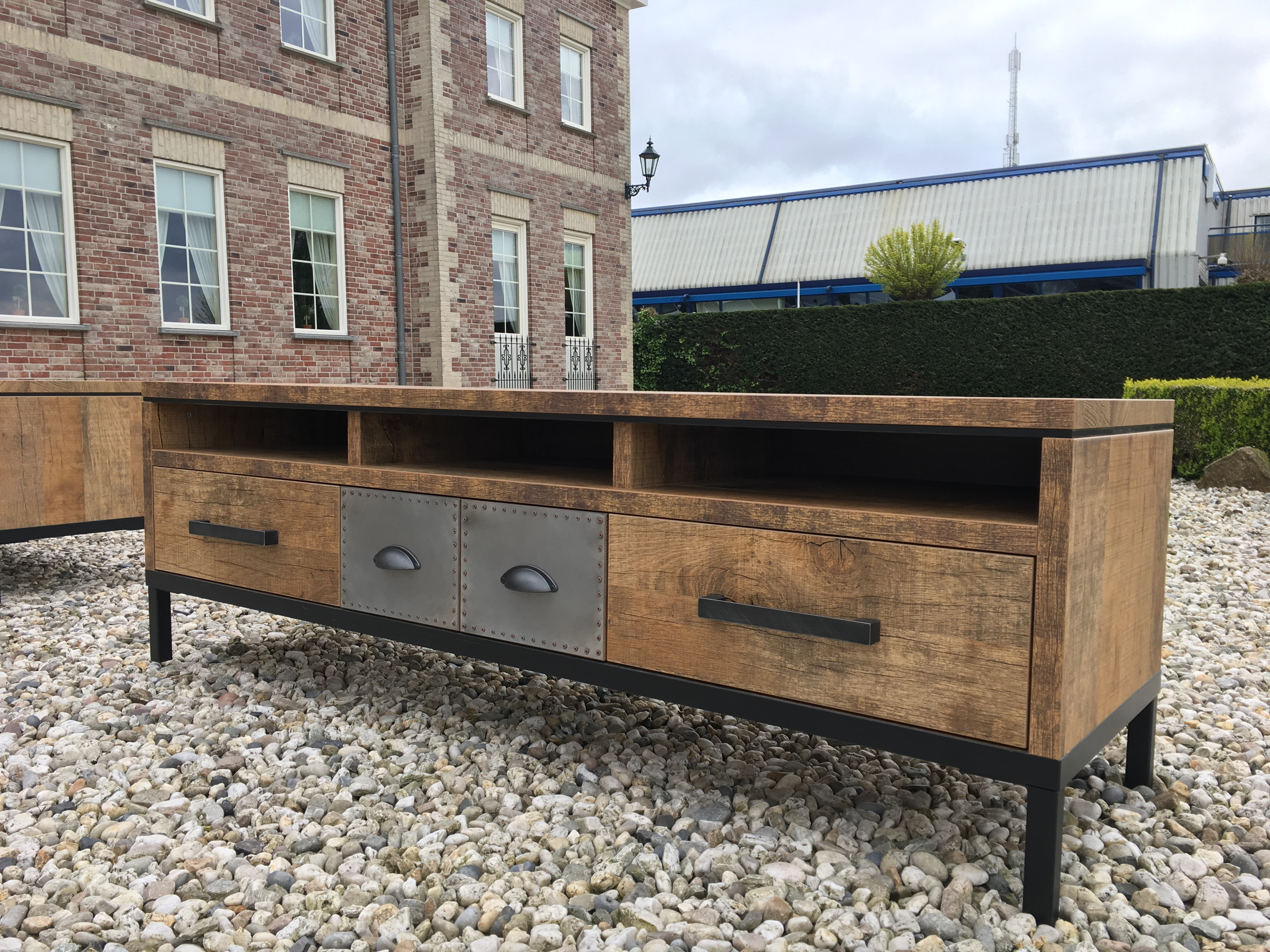 Iron tv meubel laden staal oud hout