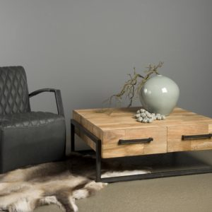 Byron Coffee Table Industrieel Teak Vierkant