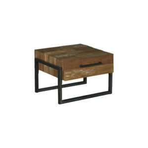 Byron End Table Industrieel Teak 60×60 Cm (1)