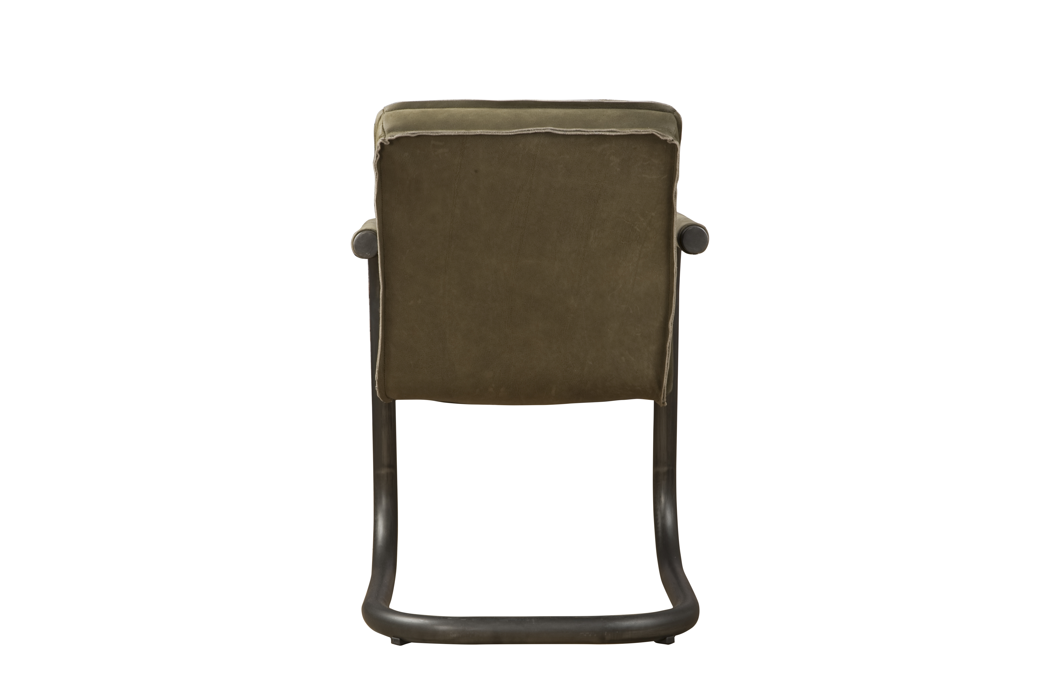 Saddle Industriële Armstoel Leer Olive