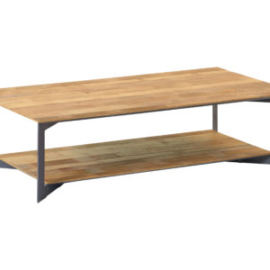 Aberdeen Coffee Table Staal Teakhout 100×100 Cm (3)