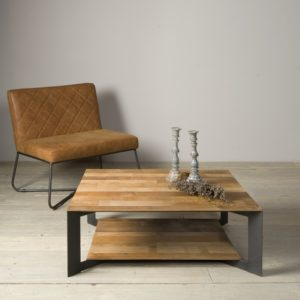 Aberdeen Coffee Table Staal Teakhout 100×100 Cm