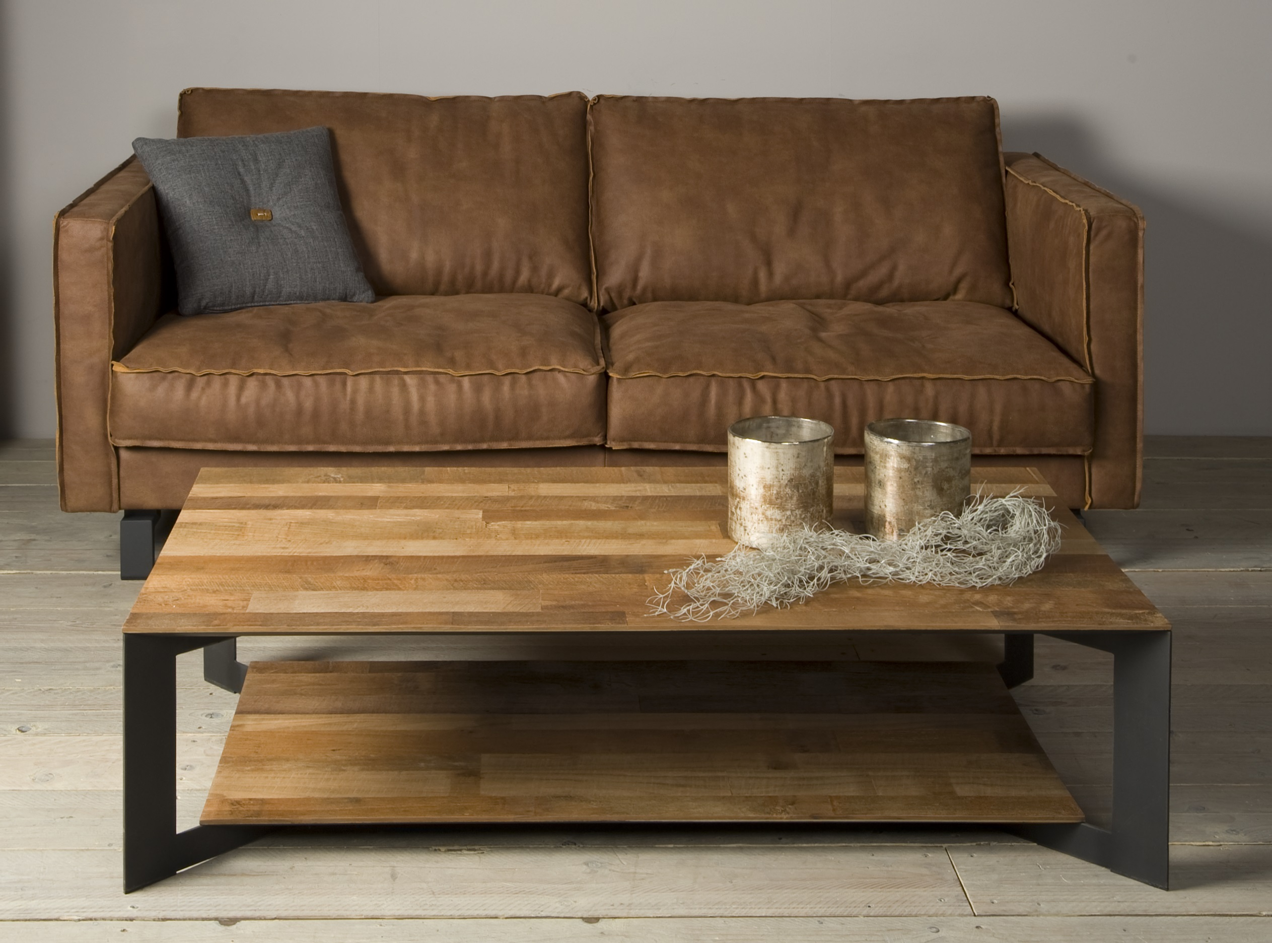 Aberdeen Coffee Table Staal Teakhout 135 Cm