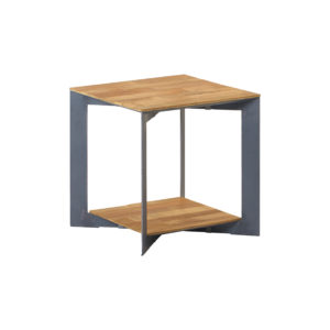 Aberdeen End Table Staal Teakhout 50×50 Cm (2)