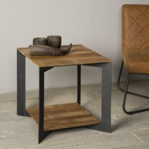 Aberdeen End Table Staal Teakhout 50×50 Cm
