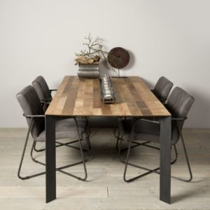 Aberdeen Dining Table Staal Teakhout 220 Cm