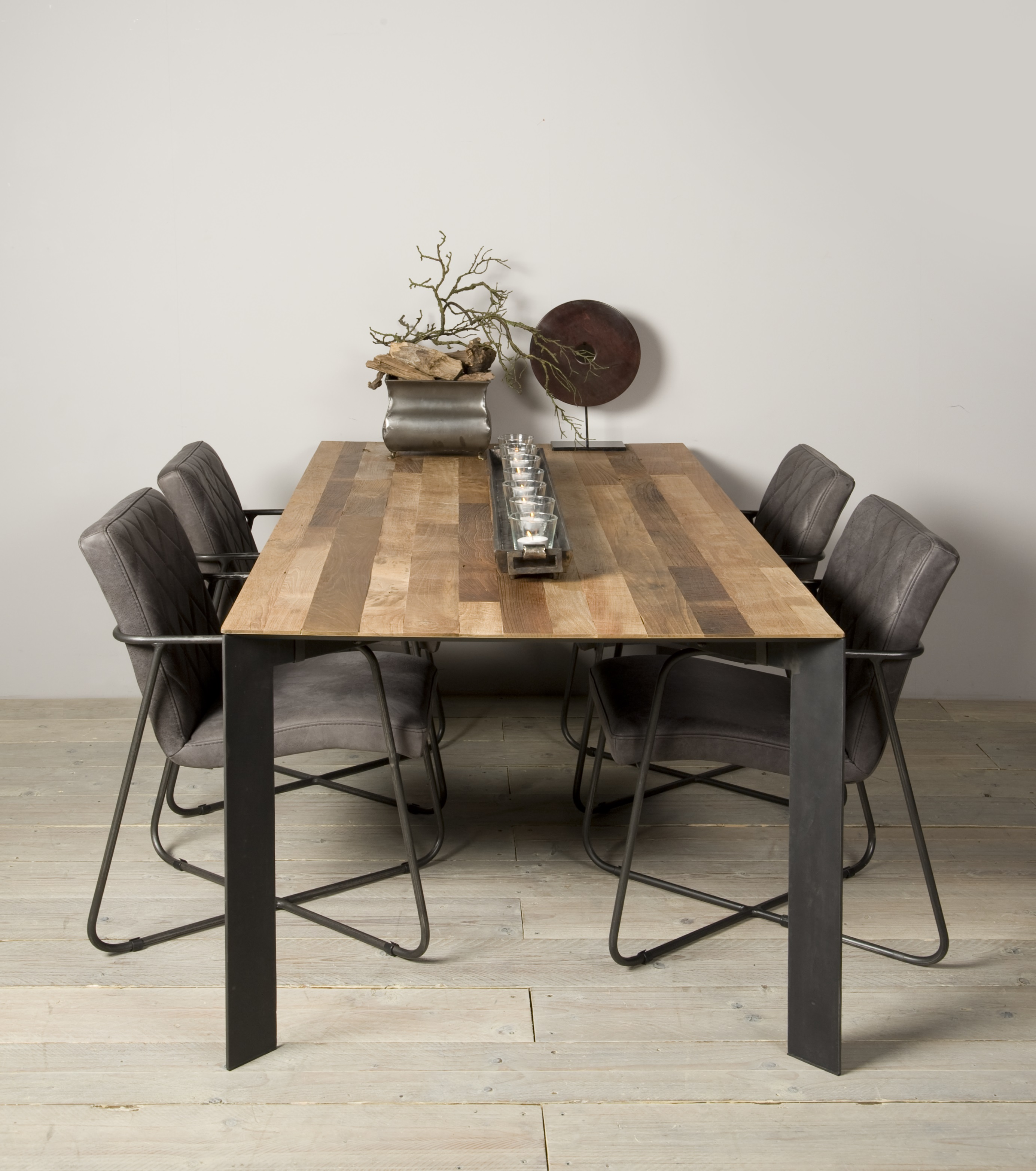 Aberdeen Dining Table Staal Teakhout 200 Cm