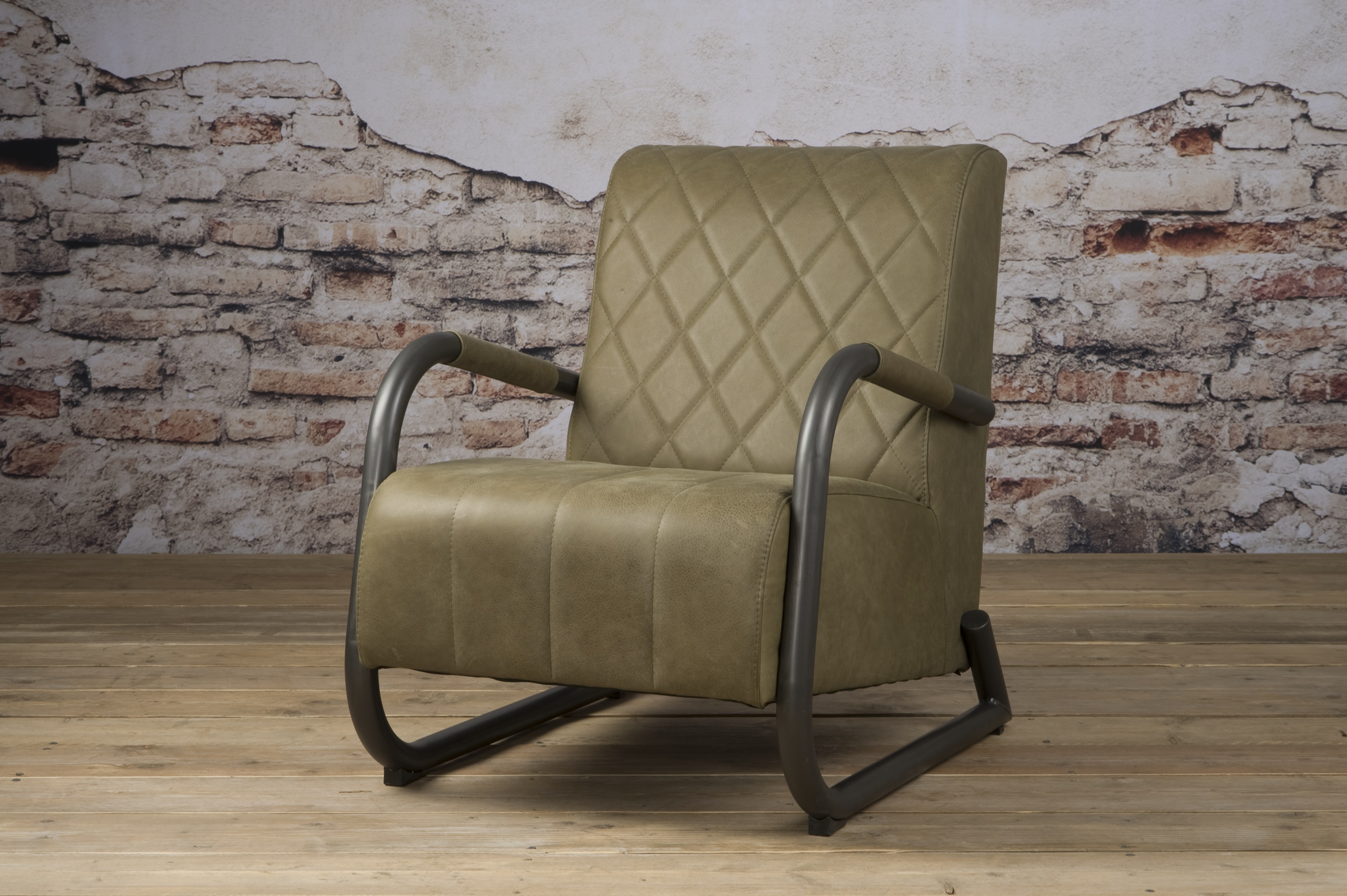 Ranche Coffee-chair Echt Leer Staal Olive